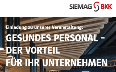 Veranstaltung: Gesundes Personal – der Vorteil für Ihr Unternehmen | 26.09.2019